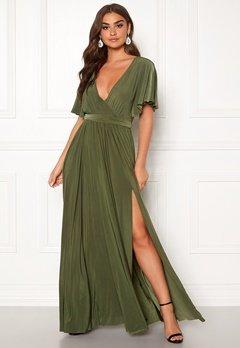 Goddiva Flutter Sleeve Maxi Dress Olive Green Bubbleroom.fi