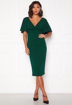 Goddiva Flutter Tie Waist Dress Emerald Bubbleroom.fi