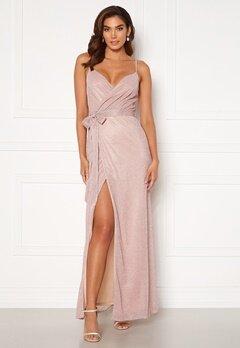 Goddiva Glitter Wrap Front Maxi Dress Blush bubbleroom.fi