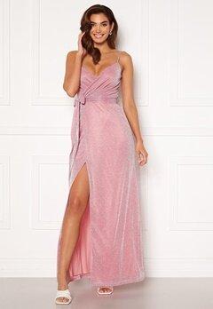 Goddiva Glitter Wrap Front Maxi Dress Pink Bubbleroom.fi
