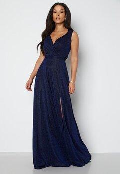 Goddiva Glitter Wrap Maxi Dress Navy bubbleroom.fi