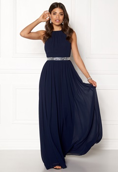 Goddiva Halter Neck Chiffon Dress Navy Bubbleroom.fi