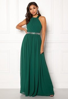 Goddiva Halterneck Chiffon Maxi Dress Green Bubbleroom.fi