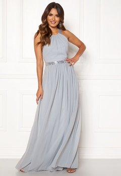 Goddiva Halterneck Chiffon Maxi Dress Grey Bubbleroom.fi