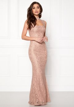 Goddiva High Neck Cut Out Lace Nude Bubbleroom.fi
