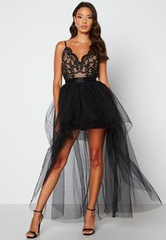 Goddiva Lace Bodice High Low Dress Black Bubbleroom.fi