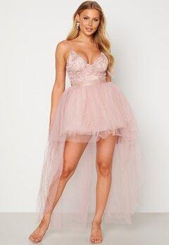 Goddiva Lace Bodice High Low Dress Nude bubbleroom.fi