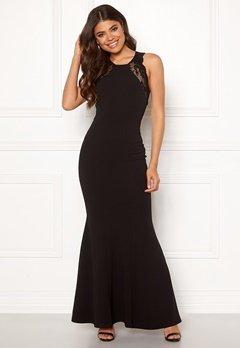 Goddiva Lace Fishtail Maxi Dress Black Bubbleroom.fi