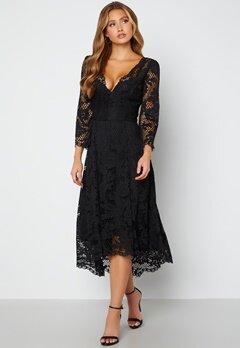 Goddiva Lace High Low Midi Dress Black bubbleroom.fi
