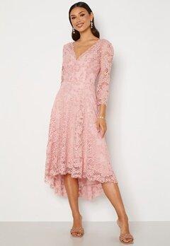 Goddiva Lace High Low Midi Dress Blush Bubbleroom.fi