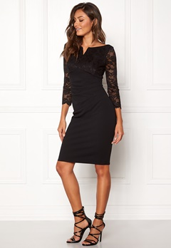 Goddiva Lace Top Midi Dress Black Bubbleroom.fi