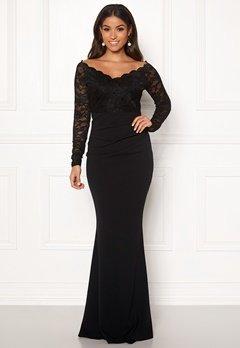 Goddiva Lace Trim Maxi Dress Black Bubbleroom.fi