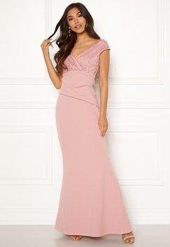 Goddiva Lace Trim Maxi Dress Blush Bubbleroom.fi
