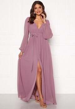 Goddiva Long Sleeve Chiffon Dress Dusty Lavendel Bubbleroom.fi
