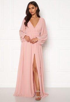 Goddiva Long Sleeve Chiffon Dress Peach Bubbleroom.fi