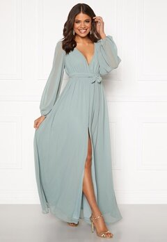 Goddiva Long Sleeve Chiffon Dress Sage Green Bubbleroom.fi