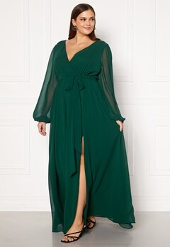 Goddiva Long Sleeve Chiffon Maxi Curve Dress Green Bubbleroom.fi