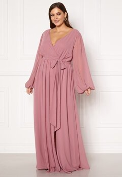 Goddiva Long Sleeve Chiffon Maxi Curve Dress Dusty Pink Bubbleroom.fi