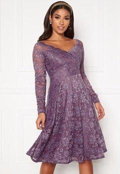 Goddiva Long Sleeve Lace Dress Dusty Lavender Bubbleroom.fi