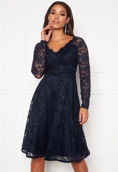 Goddiva Long Sleeve Lace Dress Navy Bubbleroom.fi