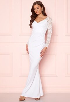 Goddiva Long Sleeve Lace Dress White bubbleroom.fi