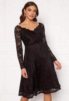 Goddiva Long Sleeve Lace Midi Dress Black Bubbleroom.fi