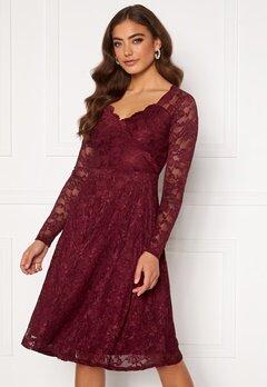 Goddiva Long Sleeve Lace Midi Dress Wine Bubbleroom.fi