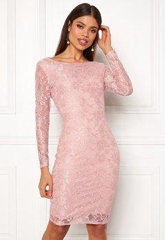Goddiva Long Sleeve Midi Dress Blush Bubbleroom.fi
