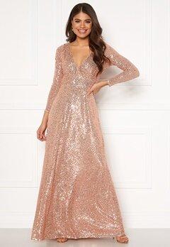 Goddiva Long Sleeve Seqiun Dress Champange Bubbleroom.fi