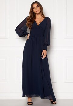 Goddiva Long Sleeve Shirred Maxi Dress Navy Bubbleroom.fi