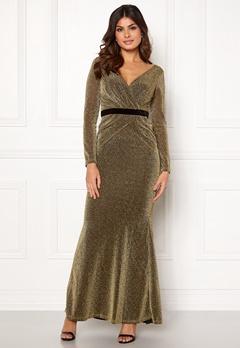 Goddiva Lurex Crossover Dress Gold Bubbleroom.fi