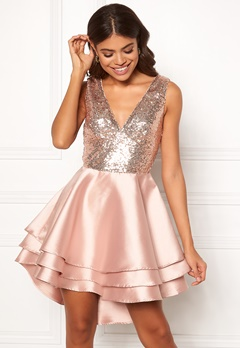 Goddiva Multi Layered Satin Dress Champagne Bubbleroom.fi