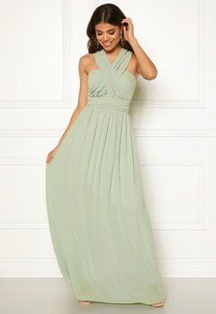 Goddiva Multi Tie Chiffon Dress Sage Green Bubbleroom.fi