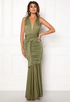 Goddiva Multi Tie Fishtail Dress Olive Bubbleroom.fi