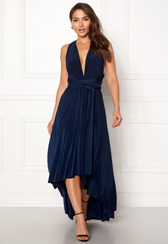 Goddiva Multi Tie High Low Dress Navy Bubbleroom.fi
