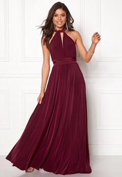 Goddiva Multi Tie Maxi Dress Berry Bubbleroom.fi