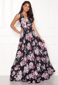 Goddiva Multi Tie Maxi Dress Black Floral Bubbleroom.fi