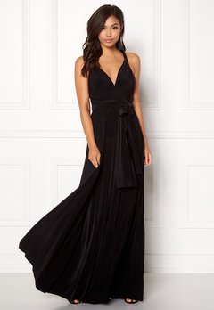 Goddiva Multi Tie Maxi Dress Black Bubbleroom.fi