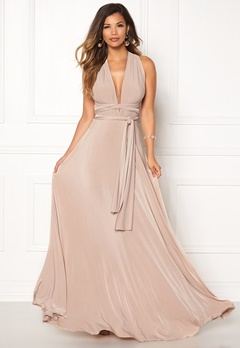 Goddiva Multi Tie Maxi Dress Latte Bubbleroom.fi