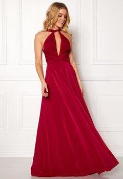 Goddiva Multi Tie Maxi Dress Red Bubbleroom.fi