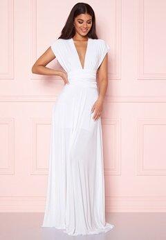 Goddiva Multi Tie Maxi Dress White Bubbleroom.fi