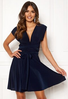 Goddiva Multi Tie Skater Dress Navy Bubbleroom.fi