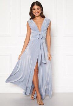 Goddiva Multi Tie Wrap Maxi Dress Dusty Blue Bubbleroom.fi
