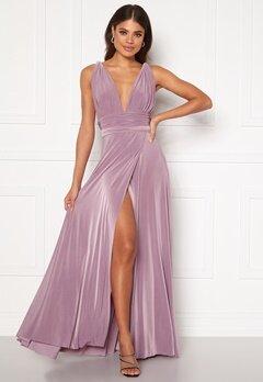 Goddiva Multi Tie Wrap Maxi Dress Dusty Lavendel Bubbleroom.fi