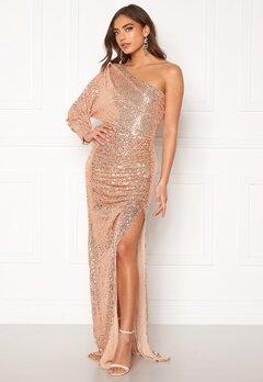 Goddiva One Shoulder Maxi Dress Champagne Bubbleroom.fi