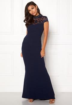 Goddiva Open Back Lace Maxi Dress Navy Bubbleroom.fi