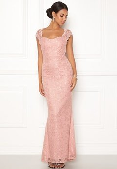 Goddiva Open Back Lace Maxi Dress Nude Bubbleroom.fi