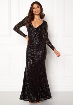 Goddiva Open Back Sequin Dress Black Bubbleroom.fi