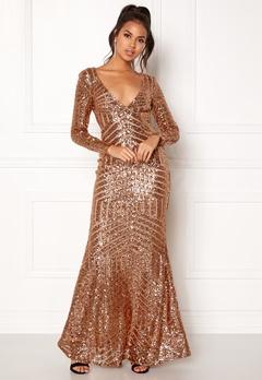 Goddiva Open Back Sequin Dress Champagne Bubbleroom.fi