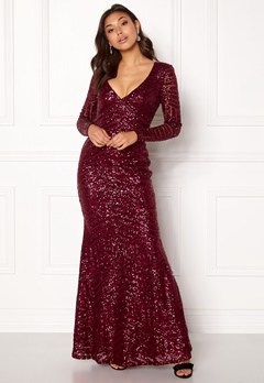 Goddiva Open Back Sequin Dress Wine Bubbleroom.fi